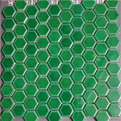 Hexagon  victorian green glad mozaïek op mat